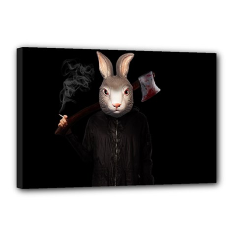 Evil Rabbit Canvas 18  X 12  by Valentinaart