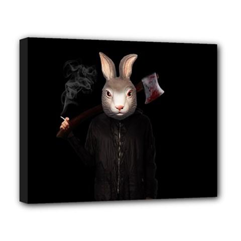 Evil Rabbit Deluxe Canvas 20  X 16   by Valentinaart
