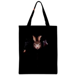 Evil Rabbit Zipper Classic Tote Bag by Valentinaart