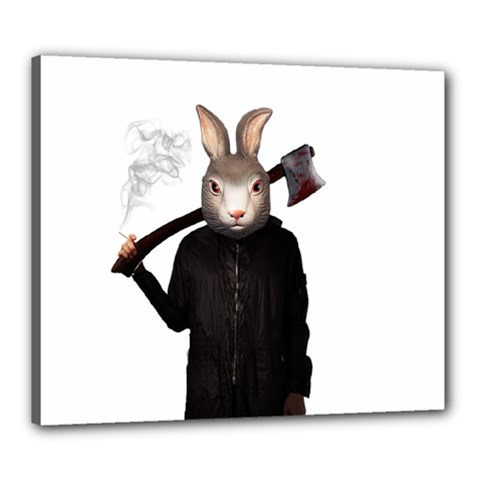 Evil Rabbit Canvas 24  X 20  by Valentinaart