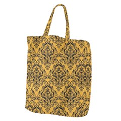 Damask1 Black Marble & Orange Colored Pencil (r) Giant Grocery Zipper Tote by trendistuff