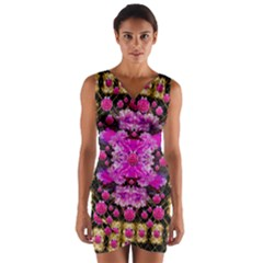 Flowers And Gold In Fauna Decorative Style Wrap Front Bodycon Dress by pepitasart