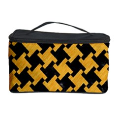 Houndstooth2 Black Marble & Orange Colored Pencil Cosmetic Storage Case
