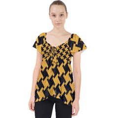 Houndstooth2 Black Marble & Orange Colored Pencil Lace Front Dolly Top by trendistuff