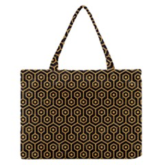 Hexagon1 Black Marble & Orange Colored Pencil Zipper Medium Tote Bag by trendistuff