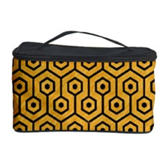 Hexagon1 Black Marble & Orange Colored Pencil (r) Cosmetic Storage Case