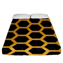 Hexagon2 Black Marble & Orange Colored Pencil Fitted Sheet (king Size) by trendistuff