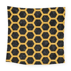Hexagon2 Black Marble & Orange Colored Pencil Square Tapestry (large) by trendistuff