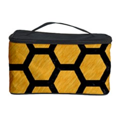 Hexagon2 Black Marble & Orange Colored Pencil (r) Cosmetic Storage Case