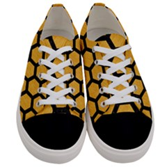 Hexagon2 Black Marble & Orange Colored Pencil (r) Women s Low Top Canvas Sneakers