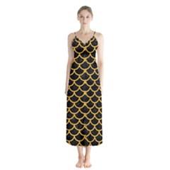 Scales1 Black Marble & Orange Colored Pencil Button Up Chiffon Maxi Dress by trendistuff
