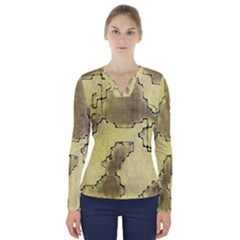 Fantasy Dungeon Maps 8 V Neck Long Sleeve Top