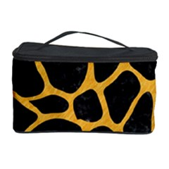 Skin1 Black Marble & Orange Colored Pencil (r) Cosmetic Storage Case by trendistuff