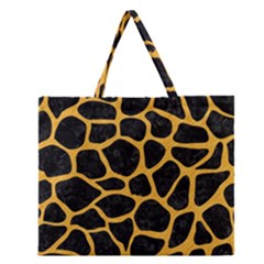 Skin1 Black Marble & Orange Colored Pencil (r) Zipper Large Tote Bag by trendistuff