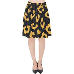 Skin5 Black Marble & Orange Colored Pencil (r) Velvet High Waist Skirt by trendistuff