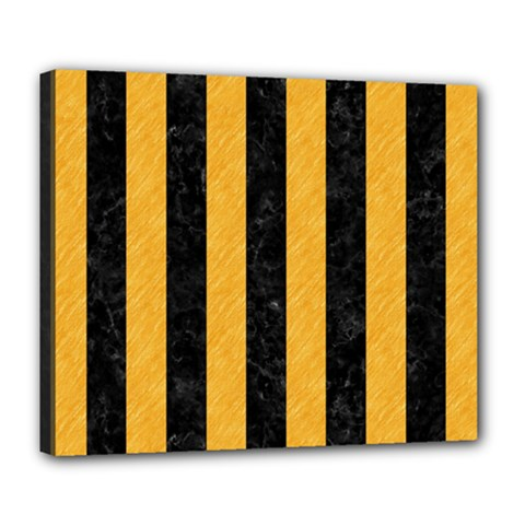 Stripes1 Black Marble & Orange Colored Pencil Deluxe Canvas 24  X 20   by trendistuff