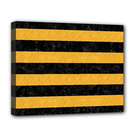 Stripes2 Black Marble & Orange Colored Pencil Deluxe Canvas 20  X 16   by trendistuff