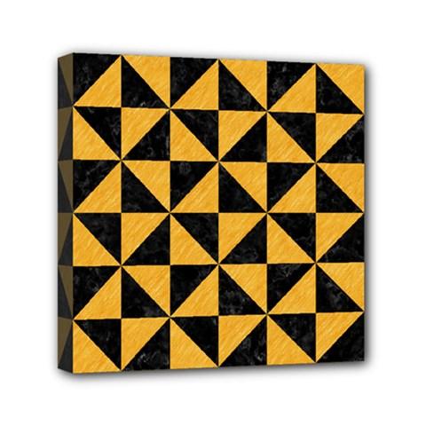 Triangle1 Black Marble & Orange Colored Pencil Mini Canvas 6  X 6  by trendistuff
