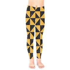 Triangle1 Black Marble & Orange Colored Pencil Kids  Legging by trendistuff