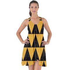 Triangle2 Black Marble & Orange Colored Pencil Show Some Back Chiffon Dress by trendistuff