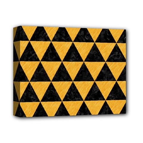 Triangle3 Black Marble & Orange Colored Pencil Deluxe Canvas 14  X 11  by trendistuff