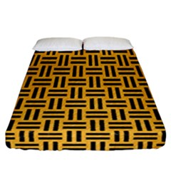 Woven1 Black Marble & Orange Colored Pencil (r) Fitted Sheet (california King Size) by trendistuff