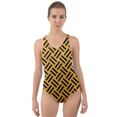 Woven2 Black Marble & Orange Colored Pencil (r) Cut Out Back One Piece Swimsuit