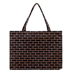 Brick1 Black Marble & Orange Watercolor (r) Medium Tote Bag by trendistuff