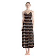 Brick1 Black Marble & Orange Watercolor (r) Button Up Chiffon Maxi Dress by trendistuff