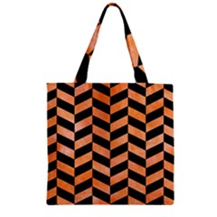 Chevron1 Black Marble & Orange Watercolor Zipper Grocery Tote Bag by trendistuff