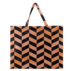 Chevron1 Black Marble & Orange Watercolor Zipper Large Tote Bag by trendistuff