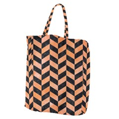 Chevron1 Black Marble & Orange Watercolor Giant Grocery Zipper Tote