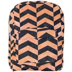 Chevron2 Black Marble & Orange Watercolor Full Print Backpack by trendistuff