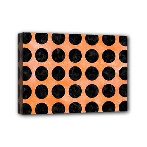 Circles1 Black Marble & Orange Watercolor Mini Canvas 7  X 5  by trendistuff