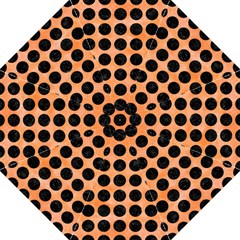 Circles1 Black Marble & Orange Watercolor Hook Handle Umbrellas (large) by trendistuff