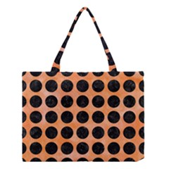 Circles1 Black Marble & Orange Watercolor Medium Tote Bag