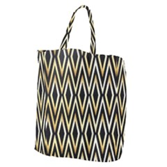 Gold,black,art Deco Pattern Giant Grocery Zipper Tote