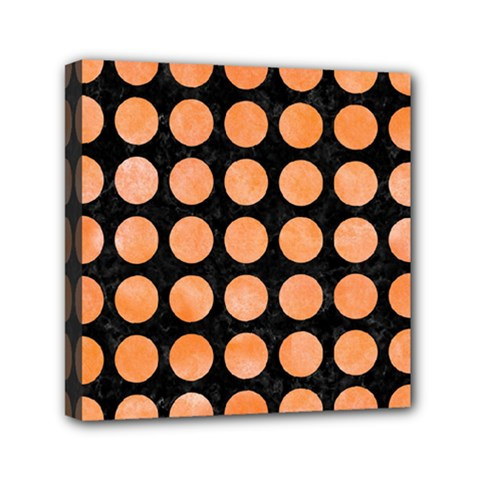 Circles1 Black Marble & Orange Watercolor (r) Mini Canvas 6  X 6  by trendistuff