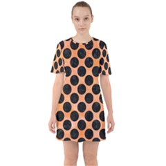 Circles2 Black Marble & Orange Watercolor Sixties Short Sleeve Mini Dress