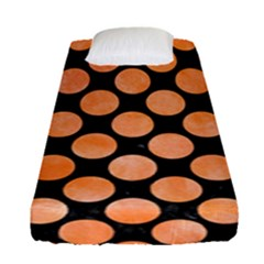 Circles2 Black Marble & Orange Watercolor (r) Fitted Sheet (single Size)