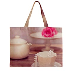 High Tea, Shabby Chic Zipper Medium Tote Bag by 8fugoso