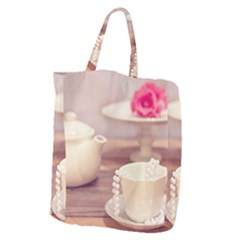 High Tea, Shabby Chic Giant Grocery Zipper Tote by 8fugoso