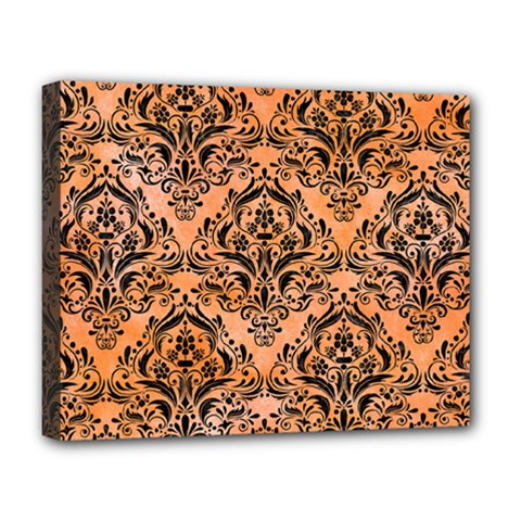 Damask1 Black Marble & Orange Watercolor Deluxe Canvas 20  X 16   by trendistuff