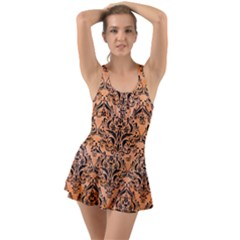 Damask1 Black Marble & Orange Watercolor Swimsuit