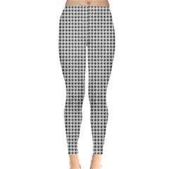 Classic Vintage Black And White Houndstooth Pattern Leggings  by Beachlux