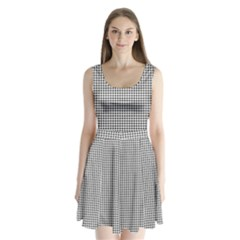 Classic Vintage Black And White Houndstooth Pattern Split Back Mini Dress  by Beachlux