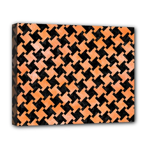 Houndstooth2 Black Marble & Orange Watercolor Deluxe Canvas 20  X 16   by trendistuff