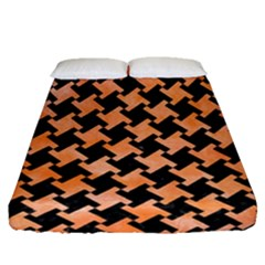 Houndstooth2 Black Marble & Orange Watercolor Fitted Sheet (queen Size) by trendistuff