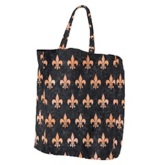 Royal1 Black Marble & Orange Watercolor Giant Grocery Zipper Tote