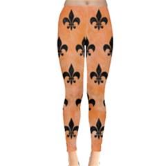 Royal1 Black Marble & Orange Watercolor (r) Leggings  by trendistuff